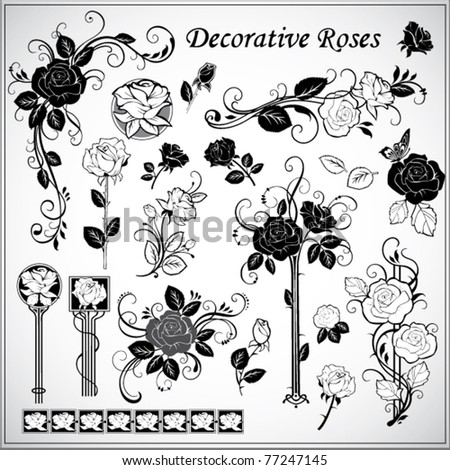 set of decorative roses - stock vector