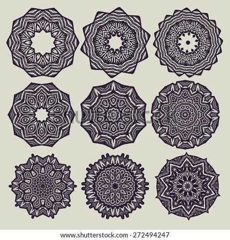 Set of decorative rosettes. vector illustration - stock vector
