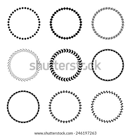 Set of decorative round frames. Vector design elements.  - stock vector