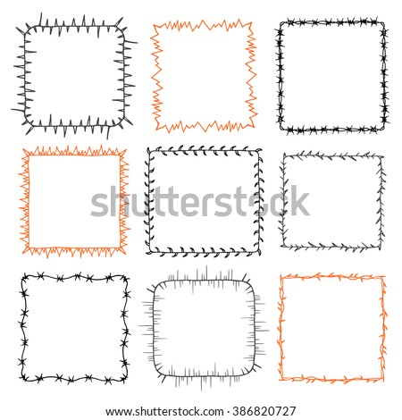 Set of 9 decorative square frames. Ornate square wreaths for use as a decorative element, for logo or emblem. These pattern brush you can find in my portfolio - stock vector