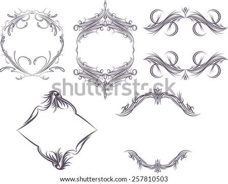 Set of 5 decorative unusual frames.  - stock vector