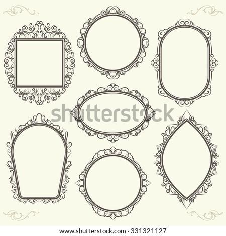 set of decorative vintage design elements, frames of different shapes - stock vector