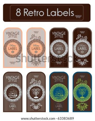 set of decorative vintage labels - stock vector