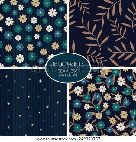 Set of deep blue vector seamless patterns with stylized flowers  - stock vector