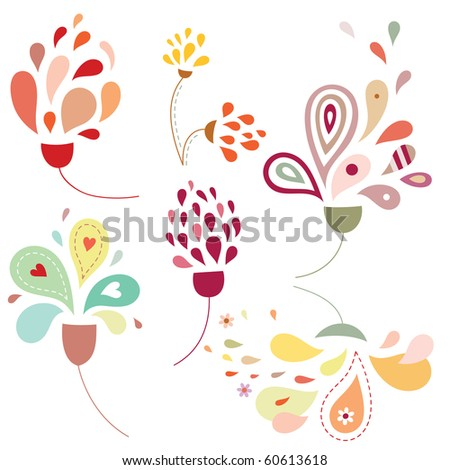 Set of delicate flowers with stylized petals and soft colors. - stock vector