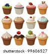 Set of delicious cupcakes with different toppings. Isolated on white background - stock vector
