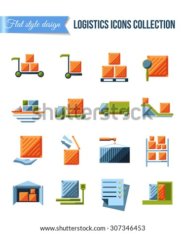 Set of delivery and logistics systems flat icons with shipment, warehouse, weighting, false documents and transportation of packages. Abstract isolated vector illustration. - stock vector
