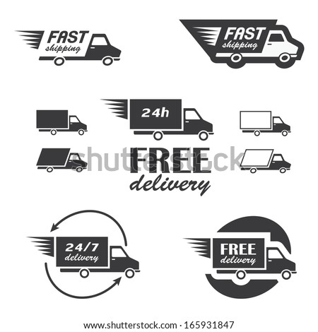 Set of delivery icons with trucks in vector - stock vector
