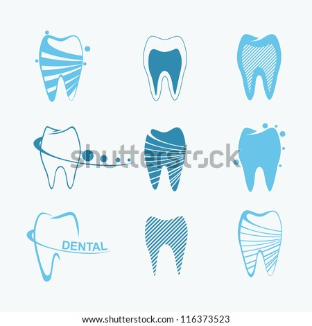 Set of dental icons - stock vector