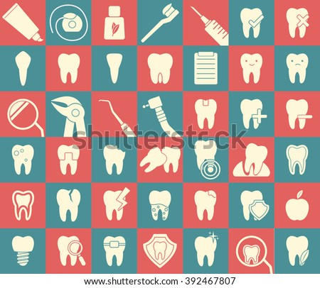 Set of 42 dental icons. Stomatology signs. Hygiene,treatment, issues, tools, protection, problems, tooth icons. Vector - stock vector