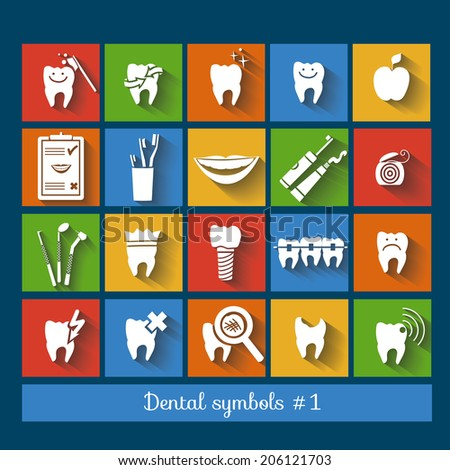 Set of dentistry symbols (1 of 2), flat design. Dental tools, floss, braces, teeth, mouth, implant, crown, toothache, hygiene, tooth decay etc. Eps 10 vector. - stock vector