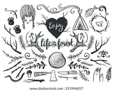 Set of design elements and clip art themed around animals ,camping and life in the forest.  - stock vector