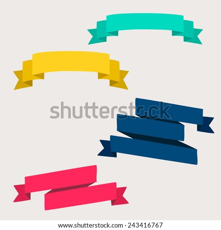 Set of design elements banners ribbons. Vector illustration. - stock vector