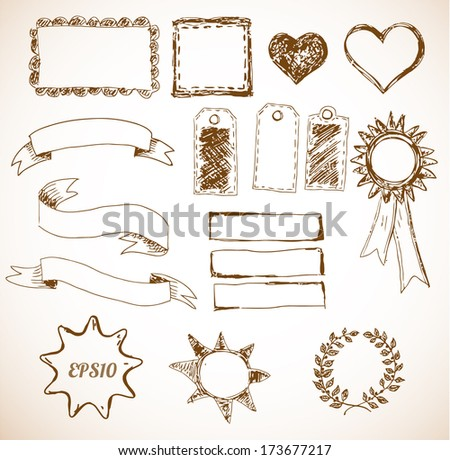 Set of design elements: borders, banners, stars etc.  - stock vector