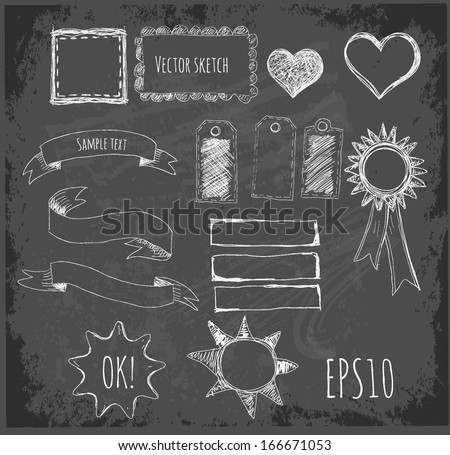 Set of design elements: borders, banners, stars etc. Hand-drawn on blackboard. Vector illustration.  - stock vector