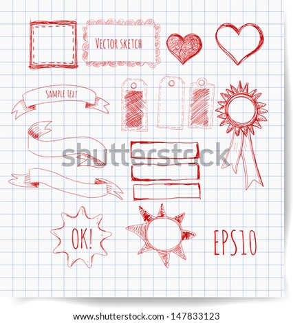 Set of design elements: borders, banners, stars etc. Vector illustration. - stock vector