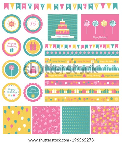 Set of design elements for birthday party - stock vector