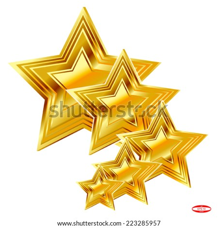 set of design elements golden star isolated on white background vector - stock vector