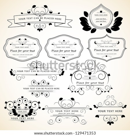 Set Of Design Elements Isolated On Gray Background - Vector Illustration, Graphic Design Editable For Your Design. Calligraphic Borders And Page Decoration - stock vector