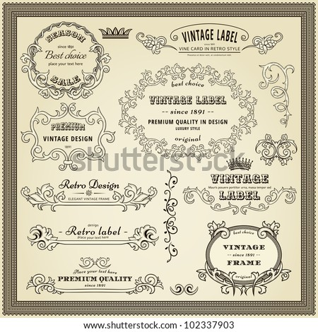 Set of design elements: labels, borders, frames, etc. Could be used for page decoration, certificate, etc - stock vector