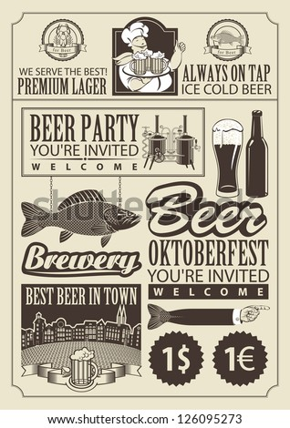 set of design elements on the subject of beer - stock vector