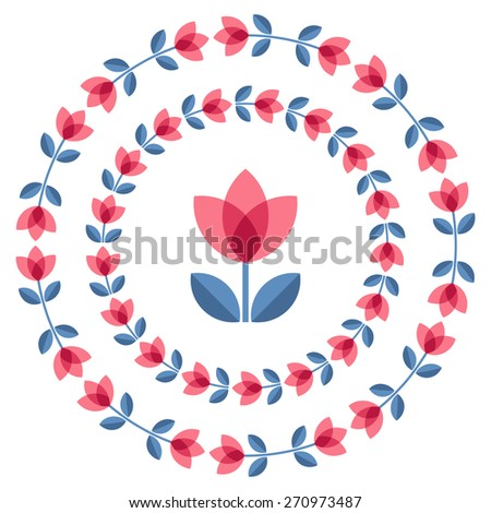 Set of design elements - round floral ornamented frames with Scandinavian minimal folk style. Perfect for invitation, greeting card, save the date, wedding design. Vector illustration. - stock vector