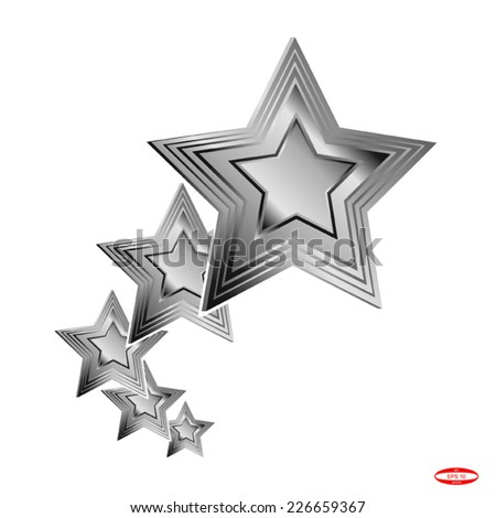 set of design elements silver star isolated on white background vector - stock vector