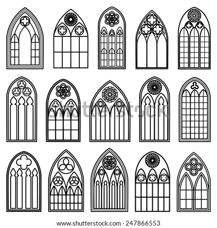 Set of design gothic window frames black silhouettes on the white background - stock vector