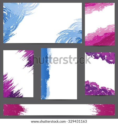 Set of designs banners with blots of paint - stock vector