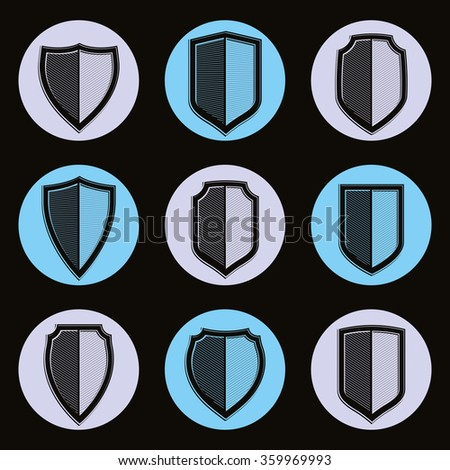 Set of detailed classic coat of arms, decorative vector defense shields collection. Heraldic symbols, for use in graphic design. - stock vector