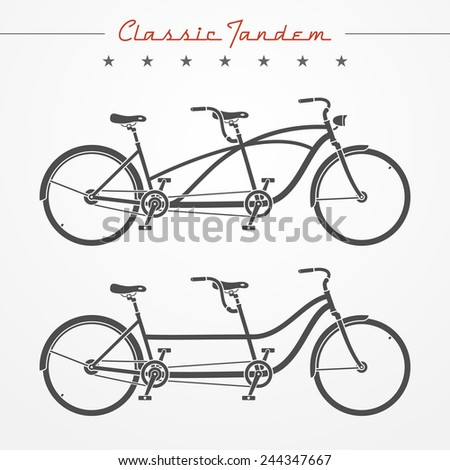 Set of detailed classic tandem bicycles in flat style - stock vector