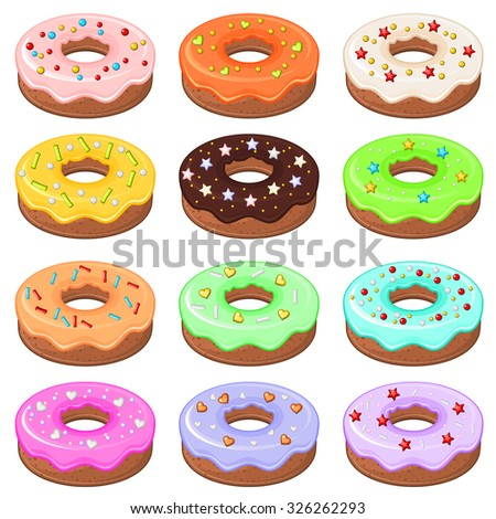 Set of 12 detailed donuts with colorful glaze and sprinkles - stock vector