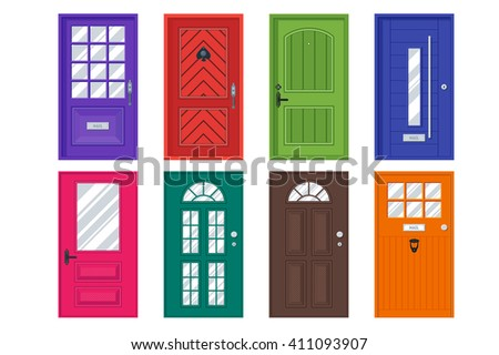 Set of detailed front doors for private house or building. Interior / exterior home entrance decoration elements. Isolated modern architecture element. Wooden doorway construction. Vector illustration - stock vector