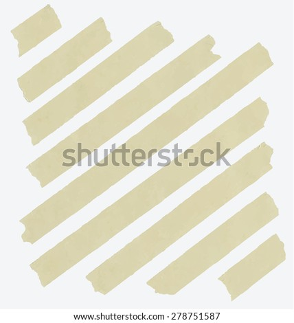 Set of diagonal and different size sticky tape,adhesive pieces on white background - stock vector