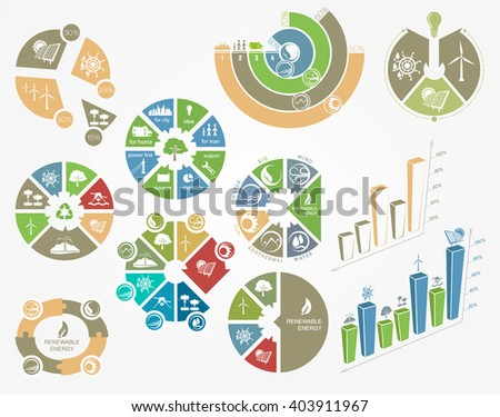set of diagrams and graphs the concept of ecology and renewable energy - stock vector
