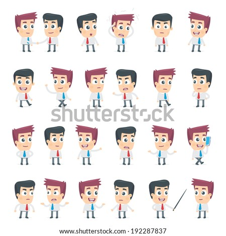 set of dialog poses of two business characters - stock vector