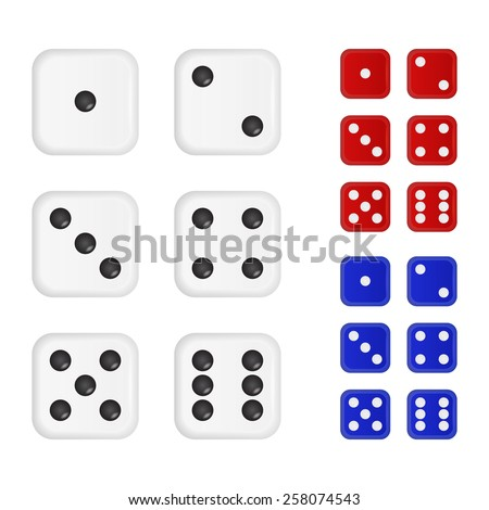 Set of dices in three different colors. Vector EPS10 illustration.  - stock vector