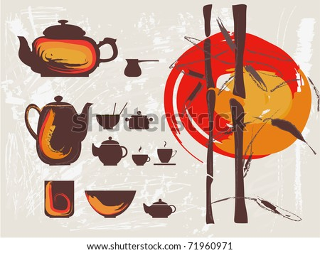 Set of Die Tea ceremony - stock vector
