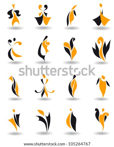 Set of 16 different abstract emblem logo for design (vector version eps 8) - stock vector