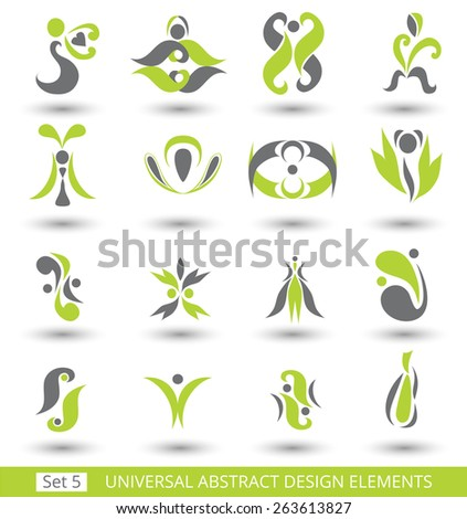 Set of different abstract flat green elements for design logo. Vector illustration eps 8 - stock vector