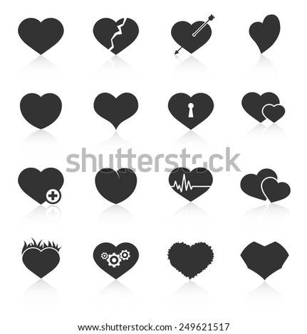 Set of different abstract heart icons. Vector illustration - stock vector