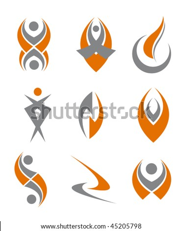 Set of different abstract symbols for design - also as emblem or sign or logo template. Jpeg version is also available - stock vector