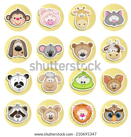 Set of different animals on a white background - stock vector