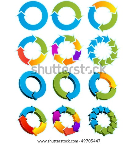 Set of Different arrow circles isolated on the white - stock vector