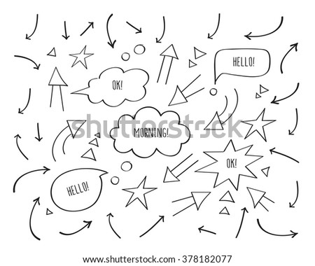 Set of different arrows and speech bubbles. Hand drawing elements. Doodles, sketch for your design. Black and white. Vector. - stock vector
