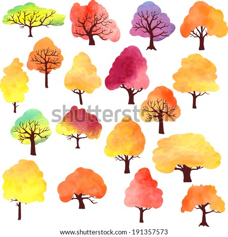 set of different autumn trees painted by watercolor, vector illustration - stock vector