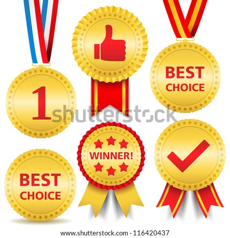 Set of different awards, vector eps10 illustration - stock vector