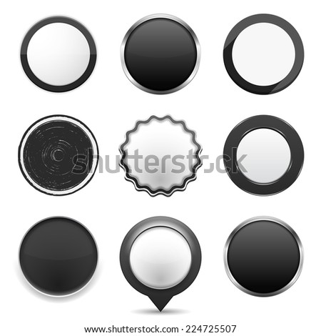 Set of different black buttons on white background, web elements collection, vector eps10 illustration - stock vector