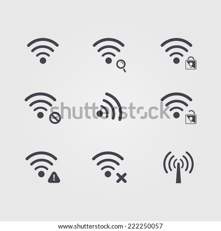Set of  different black vector  wifi and wireless icons for communicate using radio waves, remote access, wireless - stock vector