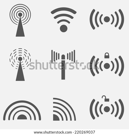Set of different black vector wireless and wifi icons. EPS10 vector. - stock vector
